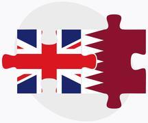 United Kingdom and Qatar Flags - stock illustration