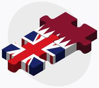 United Kingdom and Qatar Flags - stock illustration