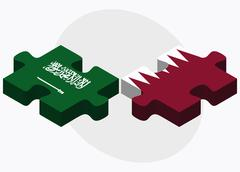 Saudi Arabia and Qatar Flags - stock illustration