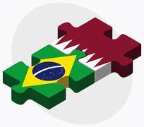 Brazil and Qatar Flags - stock illustration