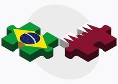 Brazil and Qatar Flags - stock illustration
