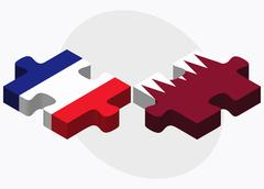 France and Qatar Flags - stock illustration
