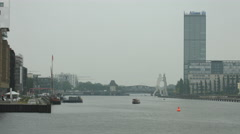 Spree River with the Molecule Man sculpture, Berlin Stock Footage
