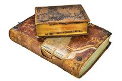 Two medieval antique books isolated on white - stock photo