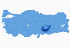 Map of Turkey where Adiyaman province is pulled out - stock illustration