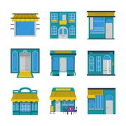 Showcases flat color icons - stock illustration