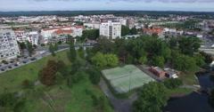 Aerial view of Marinha Grande City Stock Footage