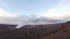 Smoking Kilauea volcano during morning - stock footage