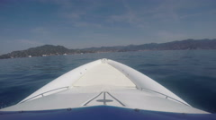 View of the bow of a RIB navigating - stock footage