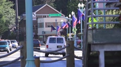 Ketchikan Cityscape, American flags Stock Footage