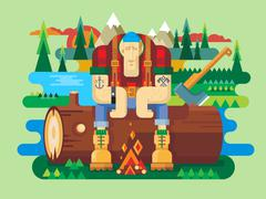 Sawyer sitting on log Stock Illustration