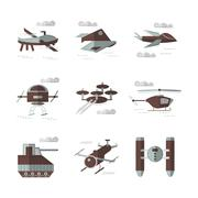 Flat color icons for military robots Stock Illustration