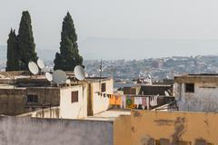 The roof top of Moroccan house in Fes - stock photo