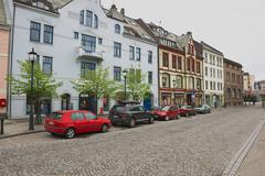 View to the street of Alesund, Norway. - stock photo