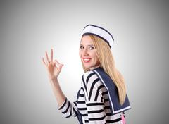 Stock Photo of Woman sailor against the gradient background