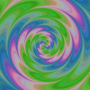 Abstract colorful spiral background in green, blue and pink Stock Illustration