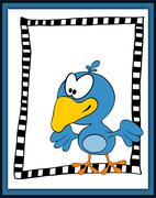 Cartoon happy bird in scrapbooking style - stock illustration