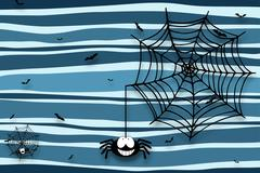 Halloween background with spider, cobweb and bats - drop shadow Stock Illustration