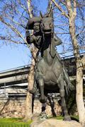 Pony Express Rider Statue Old Town Sacramento Kuvituskuvat