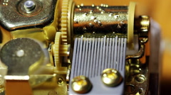 Closeup Shot Of Inner Workings Music Box Stock Footage
