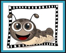 Smiling caterpillar card in scrapbook style - stock illustration