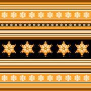 Winter seamless pattern - striped with snowflake motif in orange Stock Illustration
