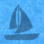 Seamless sailing boat generated texture background in blue - stock illustration