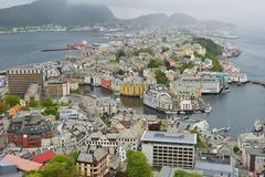 View to Alesund city on a cloudy day, Alesund, Norway. Stock Photos