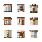 Storefronts flat color vector icons - stock illustration