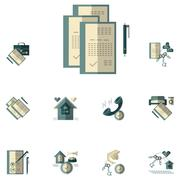 Rent of property flat color vector icons Stock Illustration