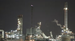 Night scene of oil and Refinery industrial factory - stock footage