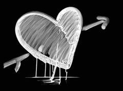 white dripping heart - stock photo