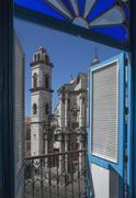 Balcony doors overlooking cityscape, Havana, Cuba Kuvituskuvat
