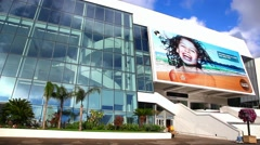 Palais des Festivals with the billboard of the Cannes Film Festival, France Stock Footage
