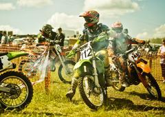 Caucasian motocross biker ready for race Stock Photos