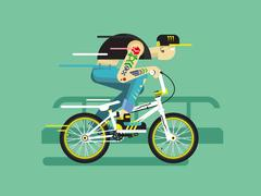 Active cyclist Stock Illustration