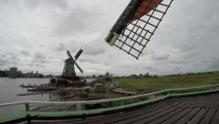 Zaandam Zaanse Schans view of the turning wooden blades 4k Stock Footage