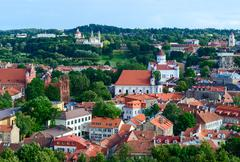 Vilnius, view on Prechistenskiy Cathedral and Church of St. Anne - stock photo