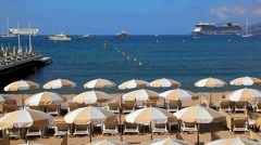 Beach in Cannes, French riviera, France Stock Footage