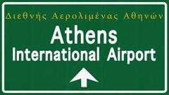 Stock Illustration of Athens Greece Airport Highway Sign