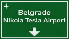 Belgrade Serbia Airport Highway Sign - stock illustration