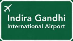 Delhi Airport Highway Sign - stock illustration