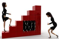 3d women trying to blast growing bar graph  concept - stock illustration