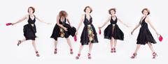 Multiple exposures of stylish Caucasian woman in dress heels Stock Photos