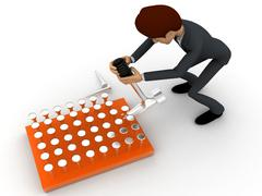 3d man remove nail with hammer concept Stock Illustration