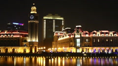Jinwan Square at night, Tianjin, China Stock Footage