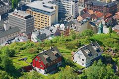 View to the buildings of Bergen in Bergen, Norway. - stock photo