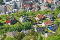 View to the buildings of Bergen in Bergen, Norway. Stock Photos