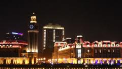 Tianjin city lights, Jinwan Square, China Stock Footage