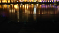 Tianjin city lights, river reflection, China Stock Footage